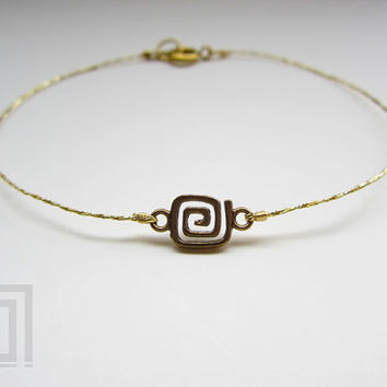 Anklet Bracelet Gold Copper Greek Key Kabbalah Mati Evil Eye Anklets Bracelets