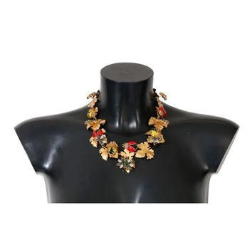 Dolce & Gabbana Gold Brass Floral Crystal Ladybug Statement Necklace