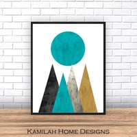Geometric Print Art, Geometric Print Art , Digital art print, Instant download printable, mountains print, digital print, printable wall art