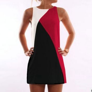 Color Block Geometric Printed Mini Dress
