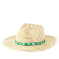 Tan Embroidered Band Straw Panama Hat by Charlotte Russe