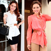 Elegant Womens OL Button-down Shirts Chiffon Tops Long Sleeve Sweety Bowknot 1fk