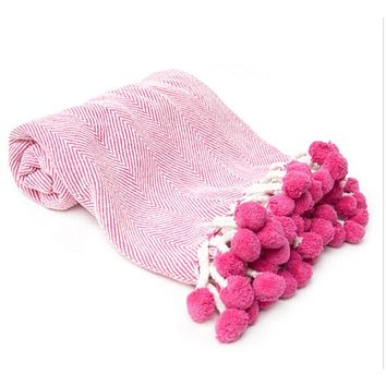 Herringbone Throw Blanket ~ Pink