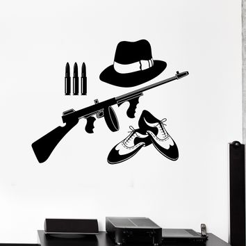 Vinyl Wall Decal Gangster Things Mafia Gun Teen Room Stickers Unique Gift (ig4194)