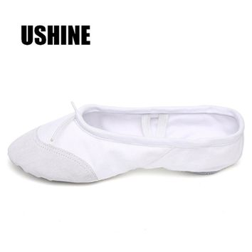 USHINE White Yoga Slippers Indoor Exercising Ballet Shoes For Ki 62bf6da67c