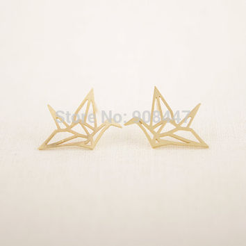 1 Piece-S037 Fashion Jewelry New Origami Crane Earrings Gold Silver Bird Stud Earrings For Women's Gift