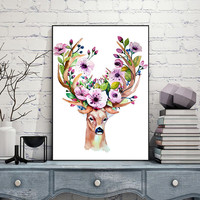 Watercolor Deer with Antler Flowers