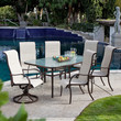 72 x 42-inch Rectangle Outdoor Patio Dining Table with Glass Top and Umbrella Hole