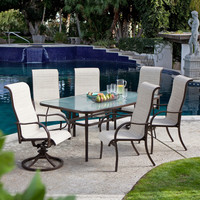 72 X 42 Inch Rectangle Outdoor Patio Dining Table With Glass Top & Umbrella Hole
