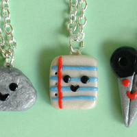 Rock Paper Scissor Necklace 3 Piece Polymer Clay Charms