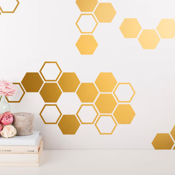 Gold Honeycomb Wall Decals Hexagon Vinyl Geometri