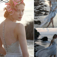 Cap Sleeve bridal gown Sexy See Through Buttons Elegant Beads Sashes Beach Wedding Dress Lace Bridal Wedding Gown