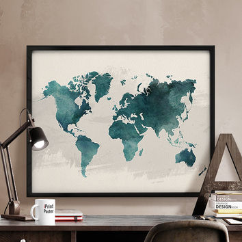 World map print, Watercolor map, World map poster, Art print, Watercolor poster, World map watercolor, World map, Home Decor, iPrintPoster.