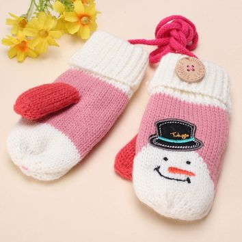 Christmas Winter Kids Girl Baby Knitted Warm Mittens Xmas Ski Gloves Xmas Gift