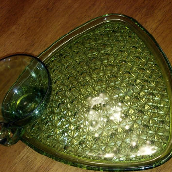 Vintage Green Glass Snack Sets, Vintage Glass, Patterned Glass Plate Cup