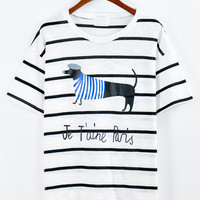 Black Striped Dog Print T-shirt