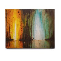 "Steven Dix ""Kinds Of Tranquil"" Teal Orange Painting Birchwood Wall Art"