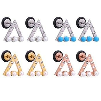 BodyjJ4You 4 Pairs Earring Stud Jeweled Triangle Value Pack Surgical Steel 18G Screw Back Ear Piercing