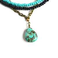 Multi Strand Bead And Turquoise Necklace