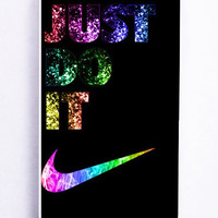 iPhone 5S Case - Rubber TPU Cover with Rainbow Nike Just Do It Rubber Case Design