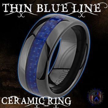 Thin Blue Line Ceramic Ring