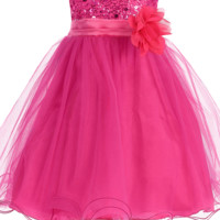 Fuchisa Pink Sequin Party Dress with Lettuce Hem Tulle Skirt Baby Girls 3M-24M