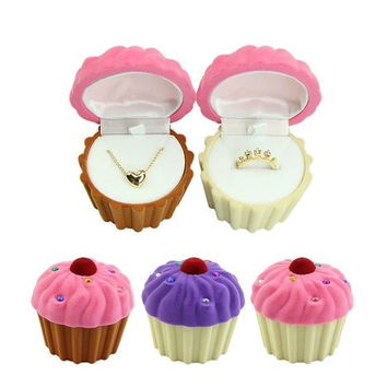 Cute CupCake Shape Velvet Ring Earring Necklace Jewelry Box
