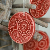 Red Ceramic Christmas Ornaments Lace Ceramic 3 Winter Home Decoration Gift