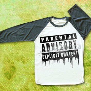 Parental Advisory Explicit Content Rock Art Shirts Raglan Tee Baseball Shirts Unisex TShirts Women TShirts Men TShirts Led Zeppelin Shirts