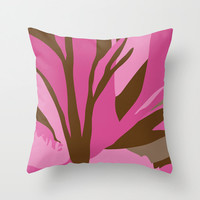 Brown and Pink Flower Pillow Cover,18x18 inch, Indoor or Outdoor Pillow Cover