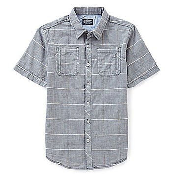 First Wave 8-20 Chambray Plaid Shirt - Charcoal