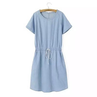 Blue Denim Short Sleeve Back Zipper Pocket Drawstring Dress