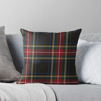 'STEWART BLACK TARTAN' Throw Pillow by IMPACTEES