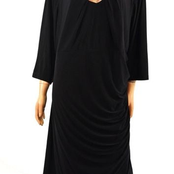INC Concepts Women 3/4-Sleeve Black Ruched Cutout-Neck Sheath Dress Plus 24W