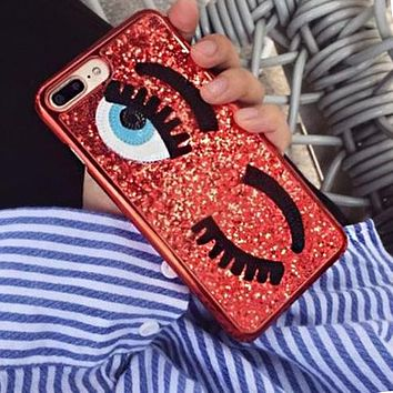Fashion Women Luxury Shiny Eyelash Pattern Cellphone Case Protective Shell For iphone 6 6s 6plus 6s-plus 7 7plus iphone 8 iphone X Red I12713-1