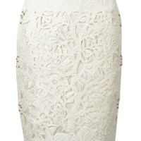 White Beaded Jacquard Pencil Skirt