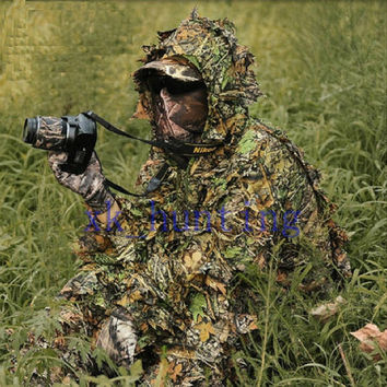 new sniper army Fight hunting Camouflage CAMO LEAF NET GHILLIE SUIT JACKET & TROUSERS (Color: Camouflage) = 1931883460