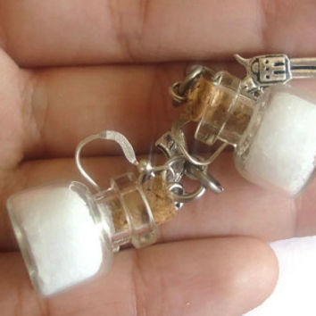 Supernatural inspired earrings rock salt and colt demon slaying and ghost repelling