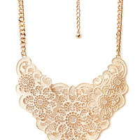 FOREVER 21 Heirloom Filigree Bib Necklace Cream/Gold One