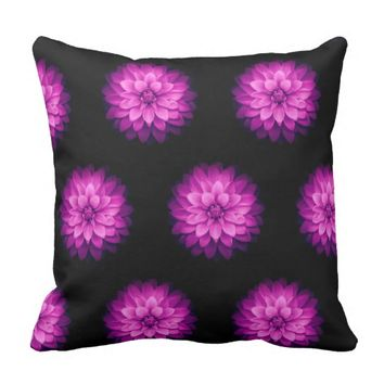 Pink black Outdoor throw pillow