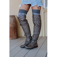 Most Wanted Lace Up Knee High Boot - Brown