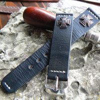 Watch Band 22mm watch Strap  24mm Mens Buckle  22mm Black Genuine Leather  Celtic