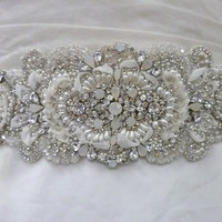Sterling silver Swarovski crystal wedding gown applique - style Danicka