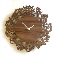 "FREE SHIPPING - 10"" Modern Wall Clock - It's My Forest - Walnut"