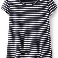 Black Short Sleeve Striped Dip Hem T-Shirt