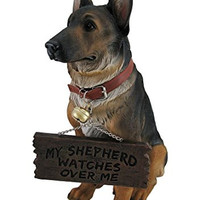 I Don't Dial 911 German Shepherd Guard Dog Warning Statue