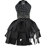 Black Crystal Dog Cocktail Harness Dress