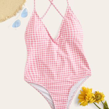 Gingham Tie Back Ruched One Piece Swimsuit