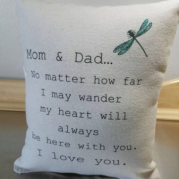 Gift for parents pillow mom and dad quote throw pillow