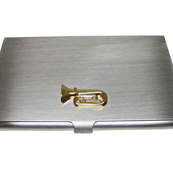 Gold Toned Tuba Music Instrument Business Card Holder